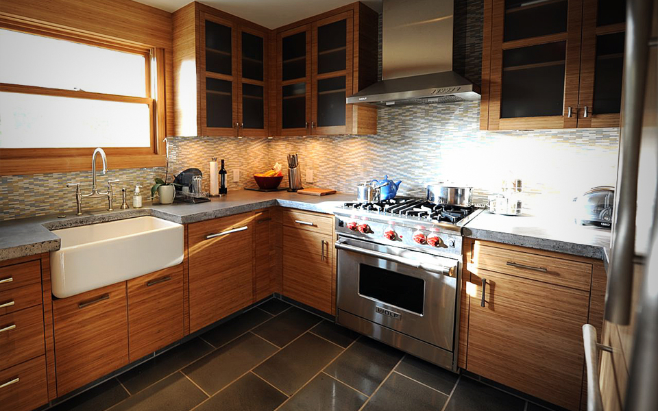 Residential Kitchen with Bamboo Cabinietry